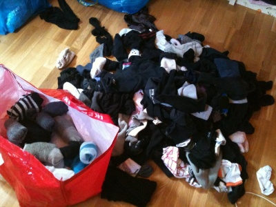 Sokker det overhode ikke finnes par av og det er faen meg mange sokker